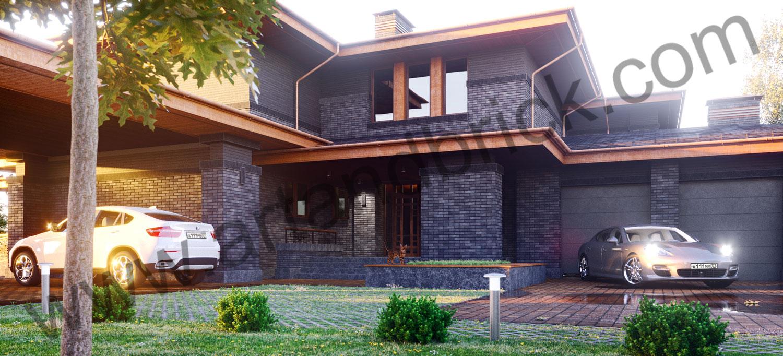 Загородный дом в стилей Прерий - главный вход. Площадь жилого дома в стиле «Прерий» - 930 кв.м.