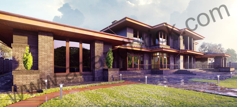 Загородный дом в стилей Прерий - вид слева. Площадь жилого дома в стиле «Прерий» - 930 кв.м.