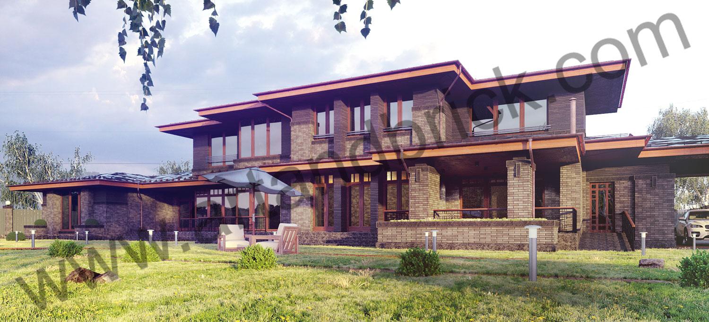 Загородный дом в стилей Прерий - задний фасад. Площадь жилого дома в стиле «Прерий» - 930 кв.м.
