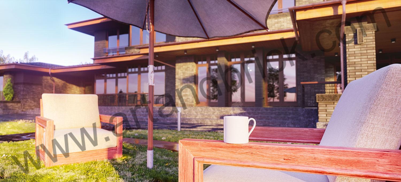 Загородный дом в стилей Прерий - задний фасад 3. Площадь жилого дома в стиле «Прерий» - 930 кв.м.
