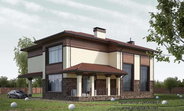 Проект частного дома - задний фасад. Проект частного дома площадью 409,2 кв.м.