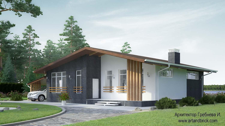 Проект одноэтажного дома – общий вид. Площадь частного дома – 108,6 кв.м.