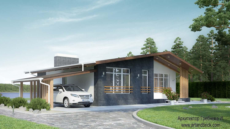 Проект одноэтажного дома – главный фасад. Площадь частного дома – 108,6 кв.м.