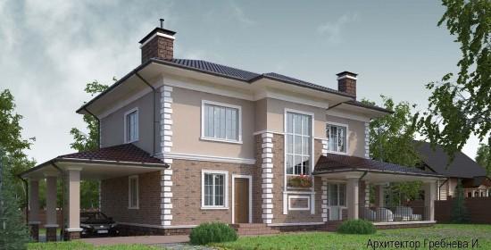Проект дома в классическом стиле (г. Москва, поселение Вороновское) – боковой и задний фасады. Площадь загородного дома – 222 кв.м.