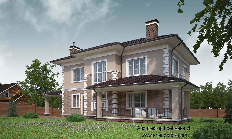 Проект дома в классическом стиле (г. Москва, поселение Вороновское) – задний фасад. Площадь загородного дома – 222 кв.м.