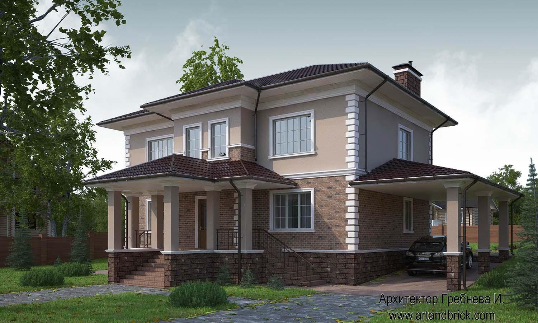 Проект дома в классическом стиле (г. Москва, поселение Вороновское) – главный фасад. Площадь загородного дома – 222 кв.м.