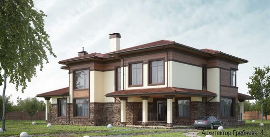 Проект частного дома - главный и боковой фасады. Проект частного дома площадью 409,2 кв.м.