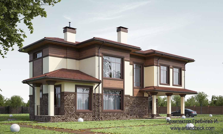 Проект частного дома - боковой и основной фасады. Проект частного дома площадью 409,2 кв.м.