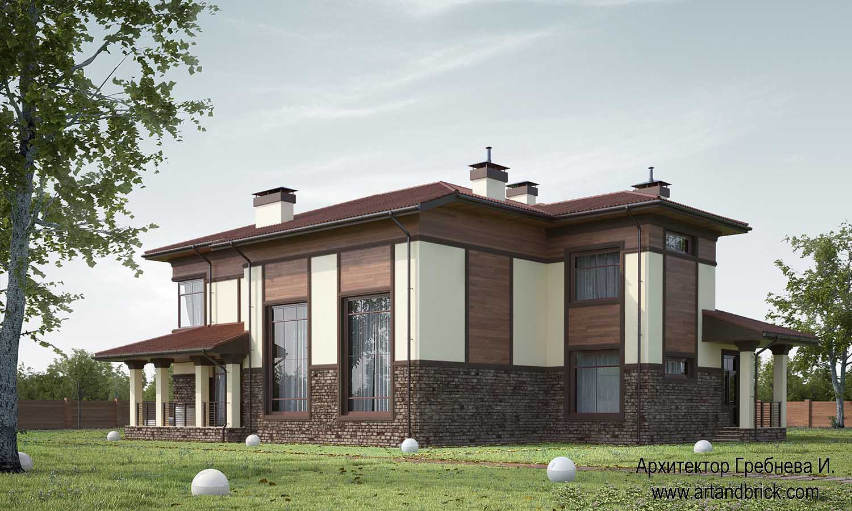 Проект частного дома - задний и боковой фасады. Проект частного дома площадью 409,2 кв.м.