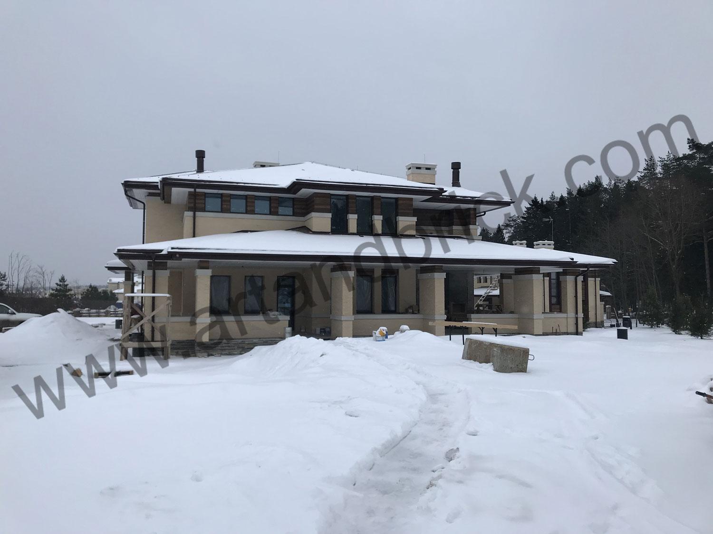 Проект дома в стиле Райта («Прерий») c гостевым домом и гаражомю Строительство