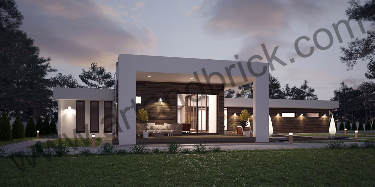 Проект дома в стиле «Минимализм» (Краснодар) - общий вид. Площадь дома в стиле минимализма – 300 кв.м.