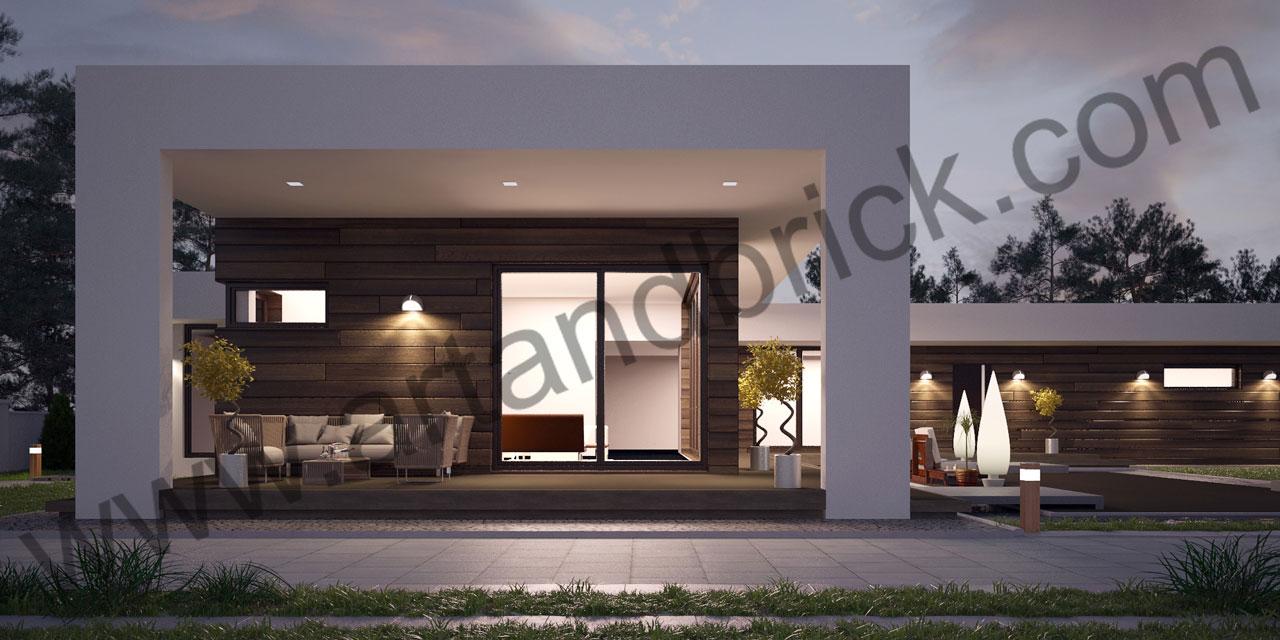 Проект дома в стиле «Минимализм» (Краснодар) - терраса с навесом. Площадь дома в стиле минимализма – 300 кв.м.