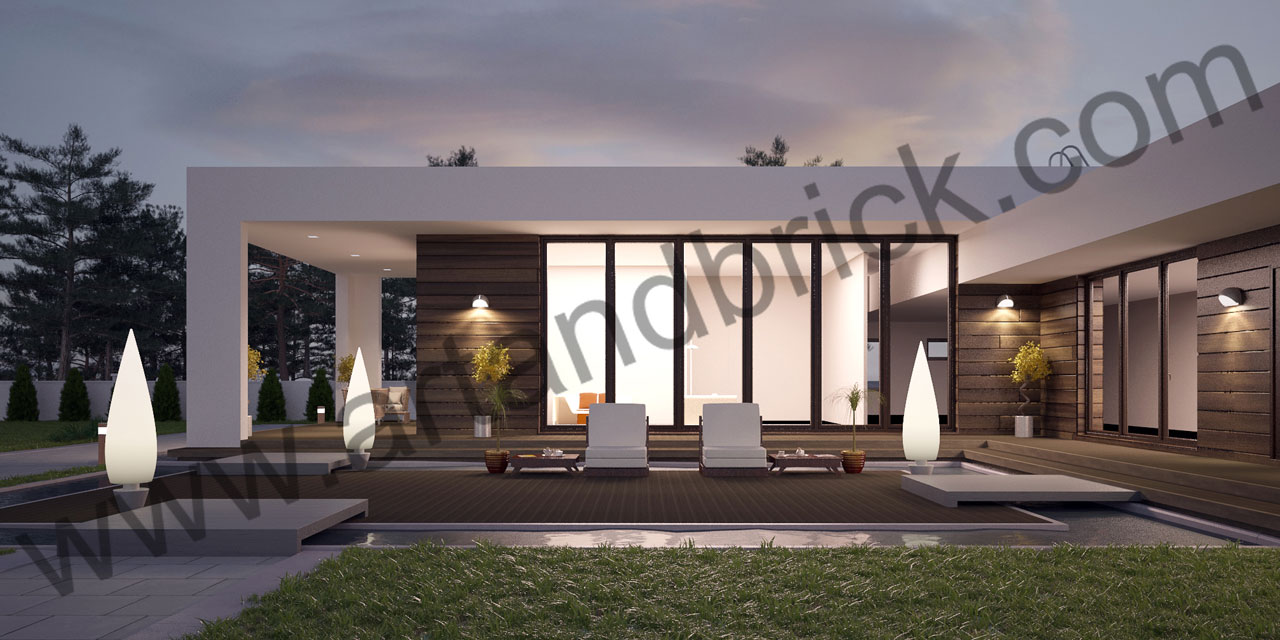 Проект дома в стиле «Минимализм» (Краснодар) - открытая терраса. Площадь дома в стиле минимализма – 300 кв.м.