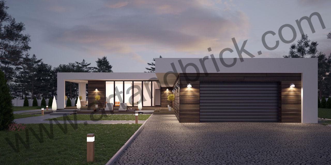 Проект дома в стиле «Минимализм» (Краснодар) - боковой фасад с гаражом. Площадь дома в стиле минимализма – 300 кв.м.