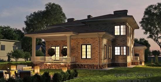 Проект загородного дома - боковой фасад с террасой. Площадь проекта загородного дома - 420,5 кв.м.