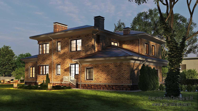 Проект загородного дома - задний фасад. Площадь проекта загородного дома - 420,5 кв.м.