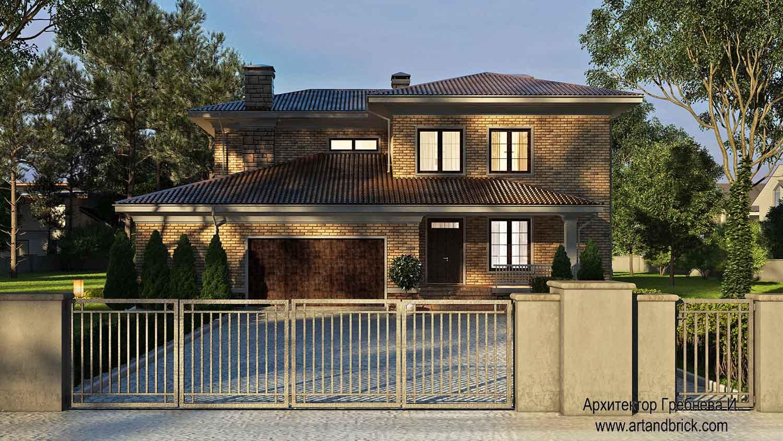 Проект загородного дома - главный фасад. Площадь проекта загородного дома - 420,5 кв.м.