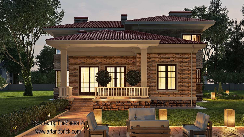 Проект загородного дома - терраса. Площадь проекта загородного дома - 420,5 кв.м.