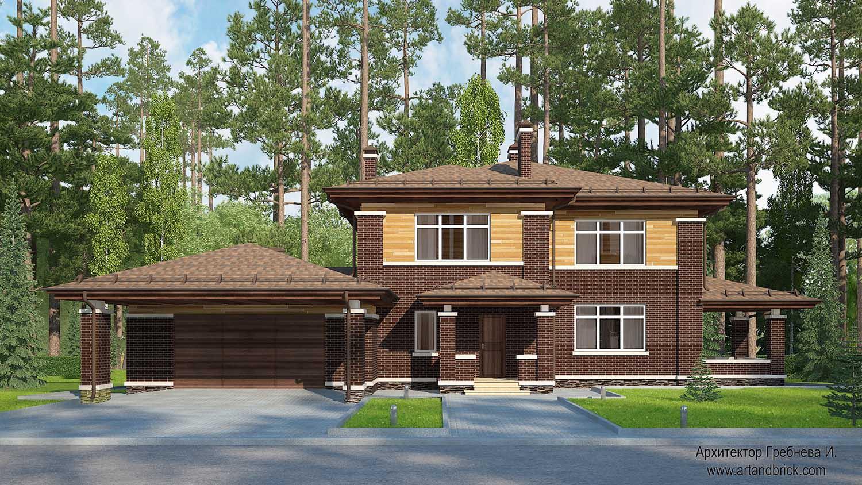 Проект дома в стилей Прерий - главный фасад с гаражом. Площадь дома в стиле Прерий (стиль Райта) – 491,4 кв.м.