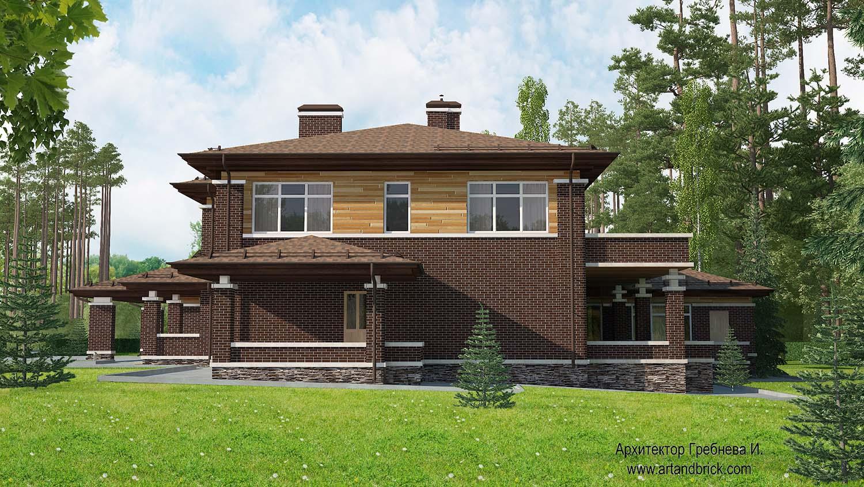 Проект дома в стилей Прерий - боковой фасад. Площадь дома в стиле Прерий (стиль Райта) – 491,4 кв.м.