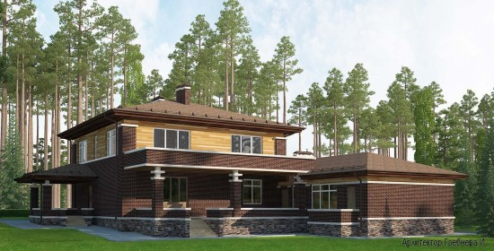 Проект дома в стилей Прерий - задний фасад. Площадь дома в стиле Прерий (стиль Райта) – 491,4 кв.м.