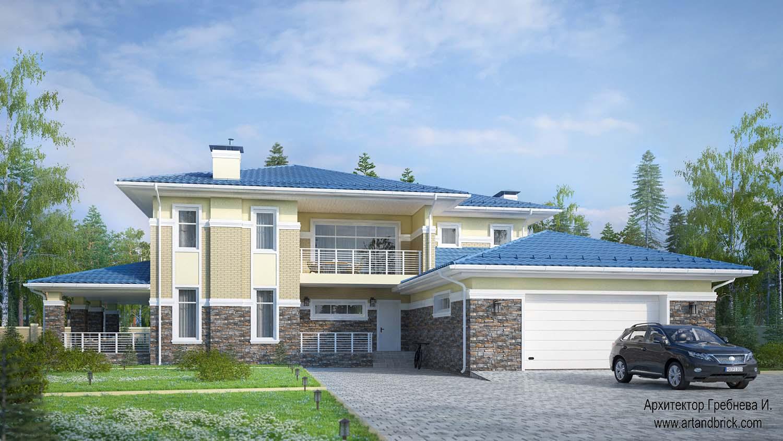 Проект дома с гаражом в современном стиле - главный фасад с гаражом. Площадь современного дома с гаражом - 406,2 кв.м.