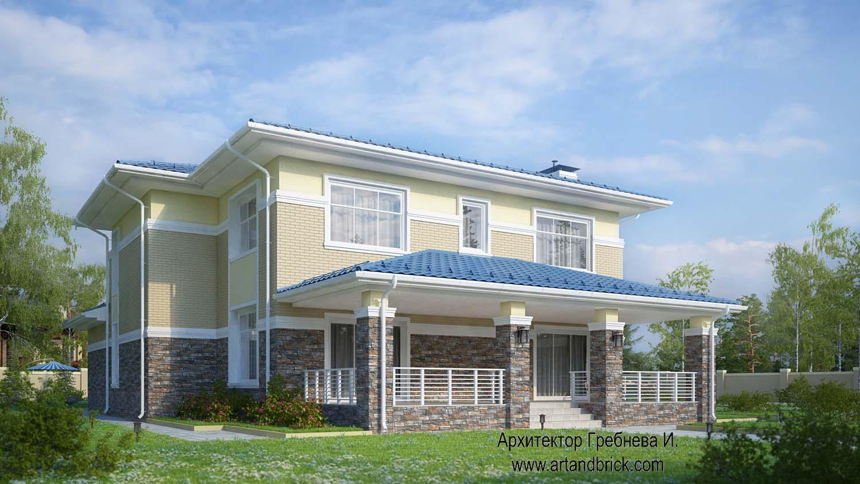 Проект дома с гаражом в современном стиле - боковой фасад с террасой. Площадь современного дома с гаражом - 406,2 кв.м.