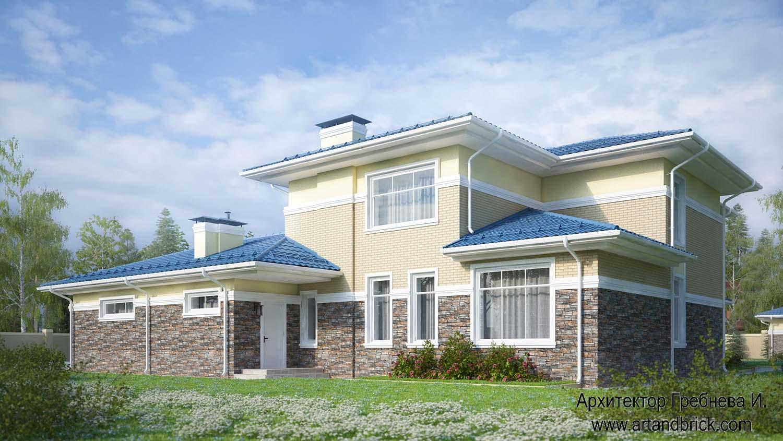 Проект дома с гаражом в современном стиле - задний фасад. Площадь современного дома с гаражом - 406,2 кв.м.