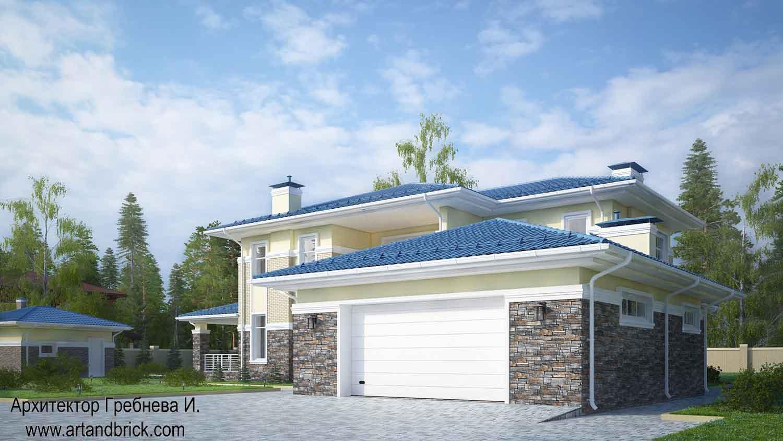 Проект дома с гаражом в современном стиле - видовая точка на гараж. Площадь современного дома с гаражом - 406,2 кв.м.