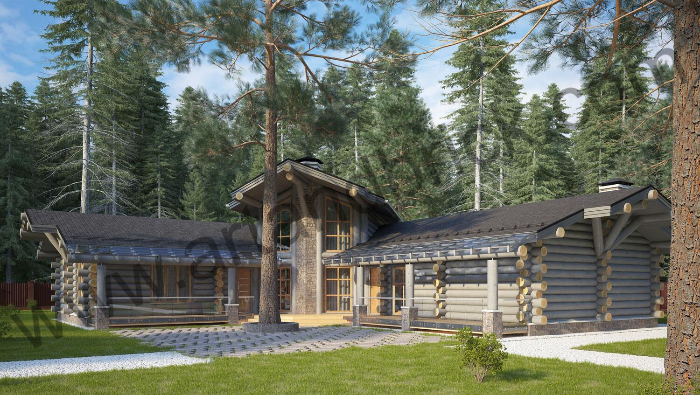 Проект деревянного дома - главный фасад. Проект деревянного дома площадью 263 кв.м.