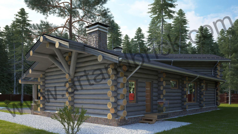 Проект деревянного дома - задний и боковой фасады. Проект деревянного дома площадью 263 кв.м.