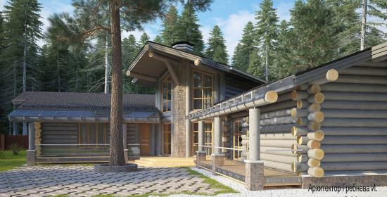 Проект деревянного дома - главный фасад крупным планом. Проект деревянного дома площадью 263 кв.м.