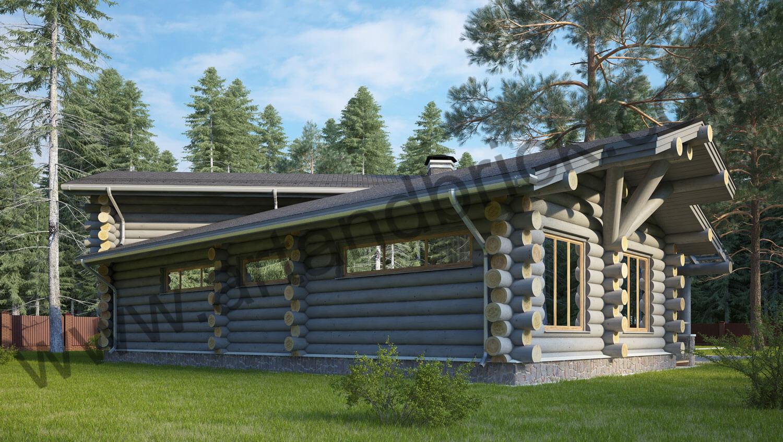 Проект деревянного дома - боковой фасад-2. Проект деревянного дома площадью 263 кв.м.
