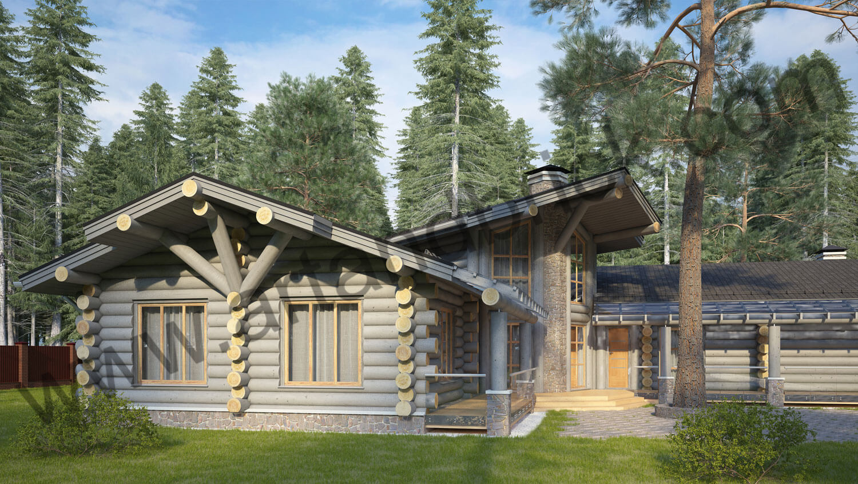 Проект деревянного дома - вид сбоку. Проект деревянного дома площадью 263 кв.м.