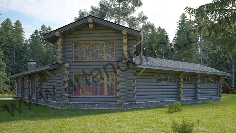 Проект деревянного дома - центральная часть заднего фасада. Проект деревянного дома площадью 263 кв.м.