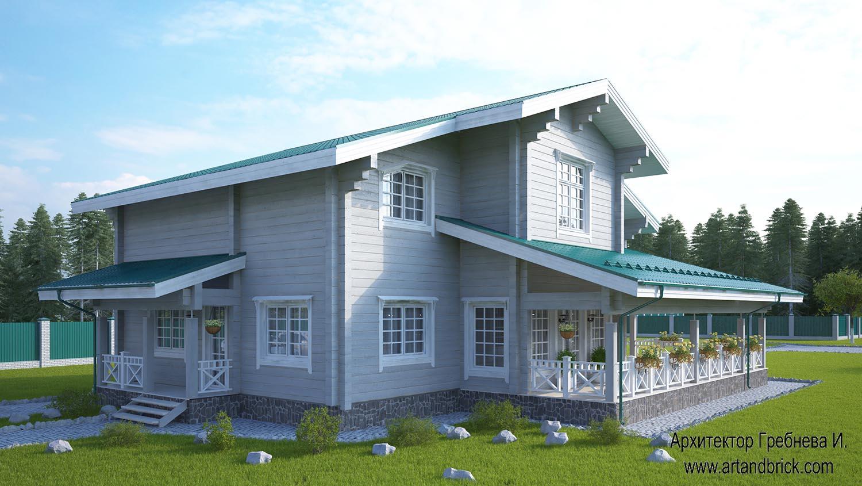 Боковые фасады со входом и террасой проекта дома из клееного бруса. Площадь дома из клееного бруса – 271,5 кв.м.