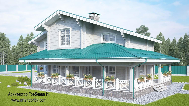 Общий вид проекта дома из клееного бруса. Площадь дома из клееного бруса – 271,5 кв.м.