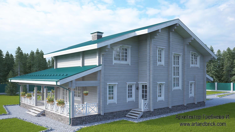 Задний фасад проекта дома из клееного бруса. Площадь дома из клееного бруса – 271,5 кв.м.