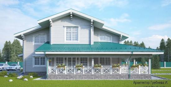 Главный фасад проекта дома из клееного бруса. Площадь дома из клееного бруса – 271,5 кв.м.