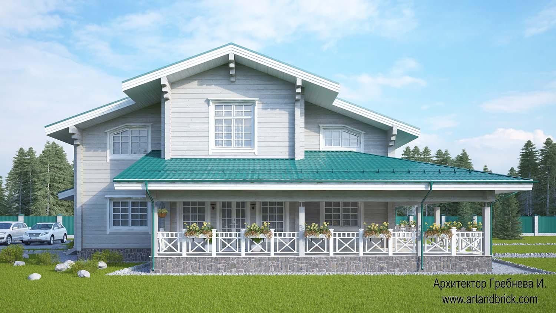 AГлавный фасад проекта дома из клееного бруса. Площадь дома из клееного бруса – 271,5 кв.м.