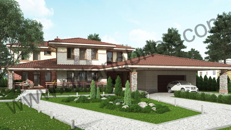 Проект дома в стилей Прерий - главный фасад с гаражом. Площадь дома в стиле Прерий (стиль Райта) – 522 кв.м.