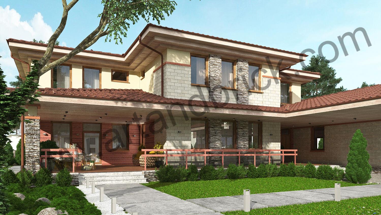 Проект дома в стилей Прерий - главный фасад с террасой. Площадь дома в стиле Прерий (стиль Райта) – 522 кв.м.