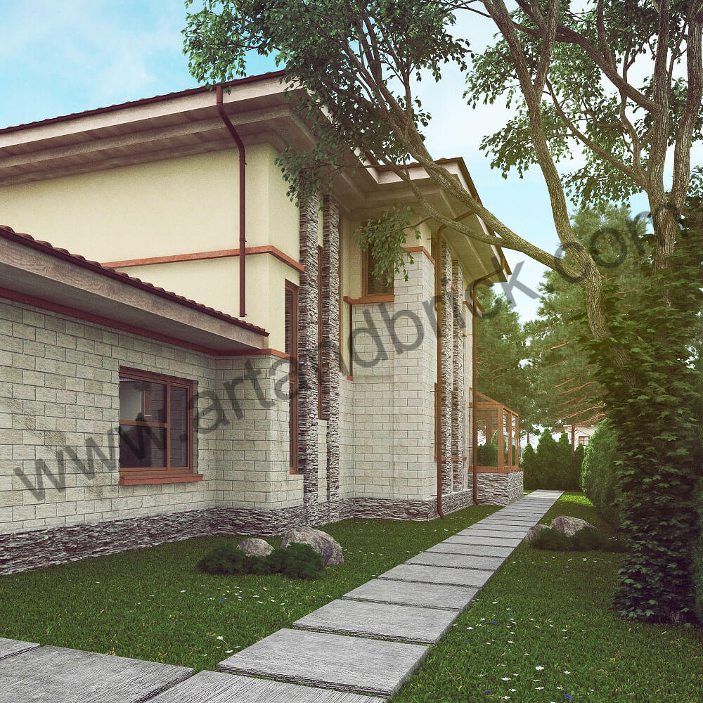 Проект дома в стилей Прерий - боковой фасад. Площадь дома в стиле Прерий (стиль Райта) – 522 кв.м.