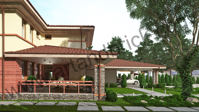 Проект дома в стилей Прерий - боковой фасад с террасой и гаражом. Площадь дома в стиле Прерий (стиль Райта) – 522 кв.м.