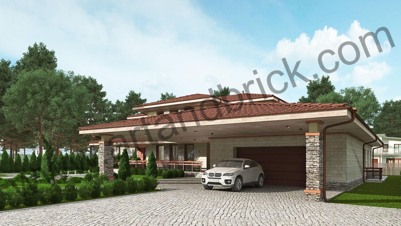 Проект дома в стилей Прерий - гараж с навесом на 2 а/м. Площадь дома в стиле Прерий (стиль Райта) – 522 кв.м.