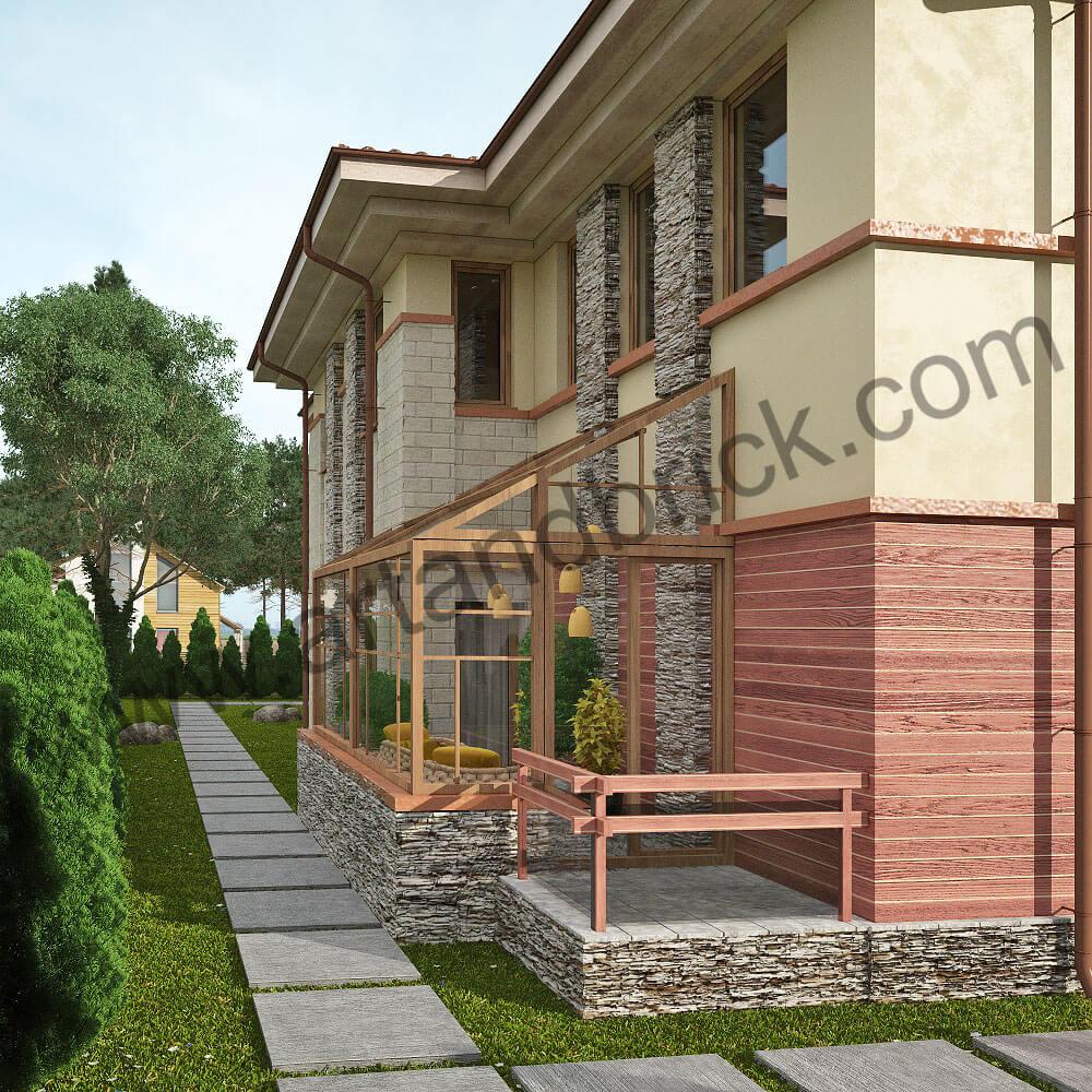 Проект дома в стилей Прерий - боковой фасад с зимним садом. Площадь дома в стиле Прерий (стиль Райта) – 522 кв.м.