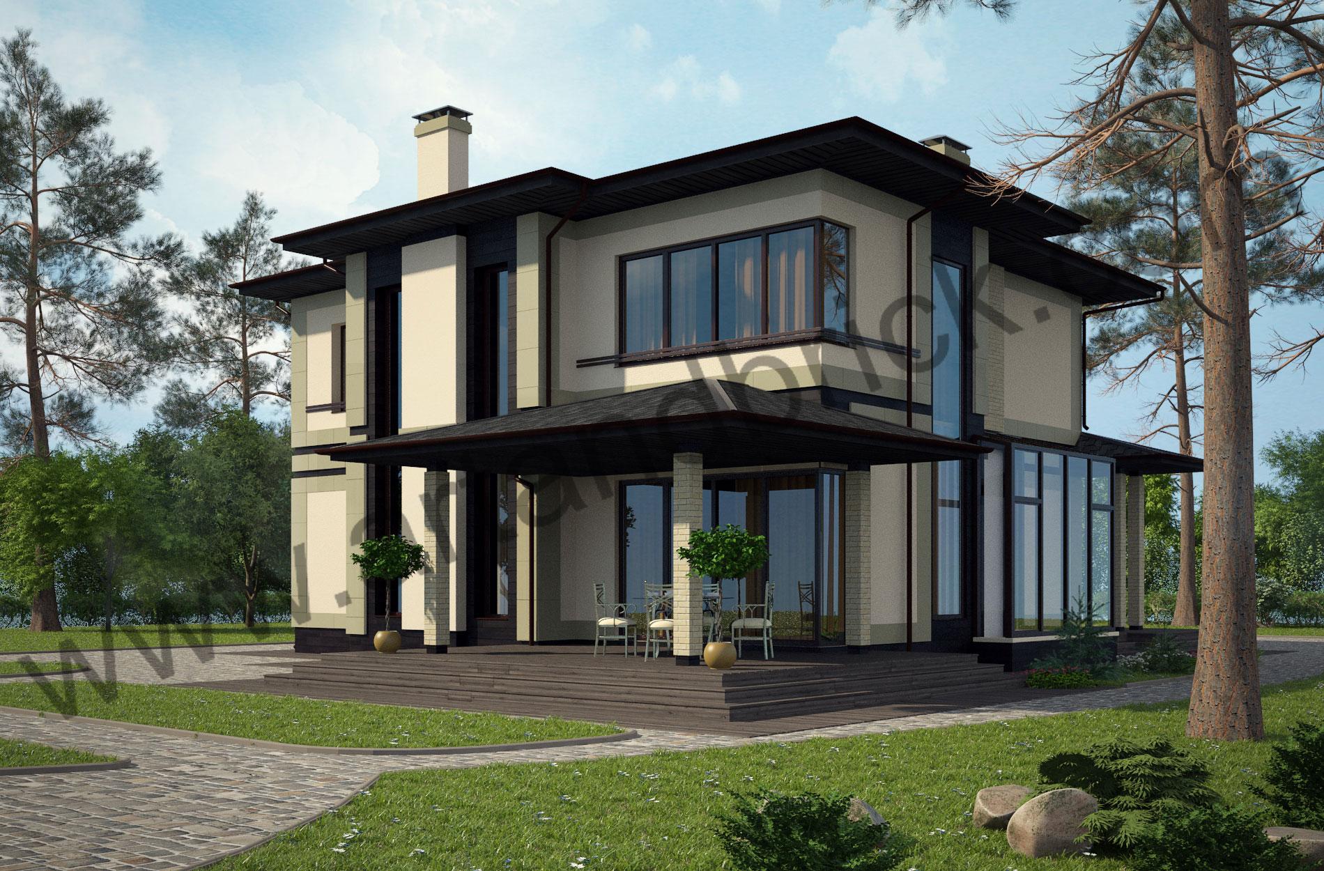 Проект дома c баней в современном стиле – задний фасад дома и боковой фасад с зимним садом. Площадь современного коттеджа – 253 кв.м., площадь бани – 85 кв.м.