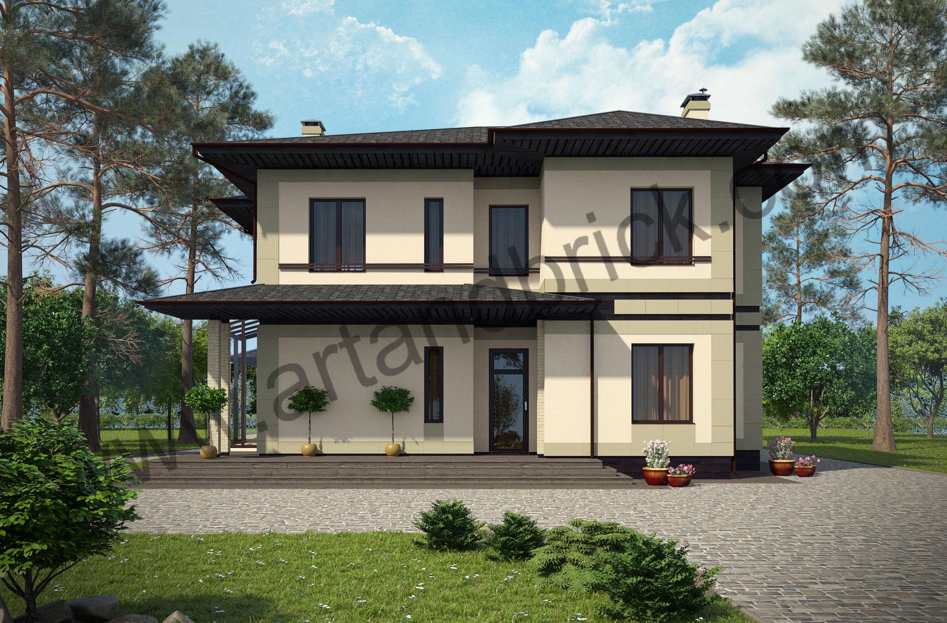 Проект дома c баней в современном стиле – главный фасад дома. Площадь современного коттеджа – 253 кв.м., площадь бани – 85 кв.м.