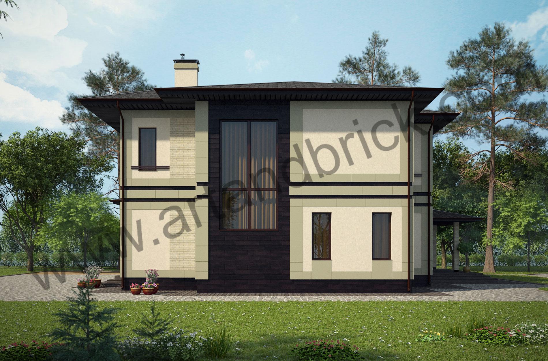 Проект дома c баней в современном стиле – боковой фасад дома. Площадь современного коттеджа – 253 кв.м., площадь бани – 85 кв.м.