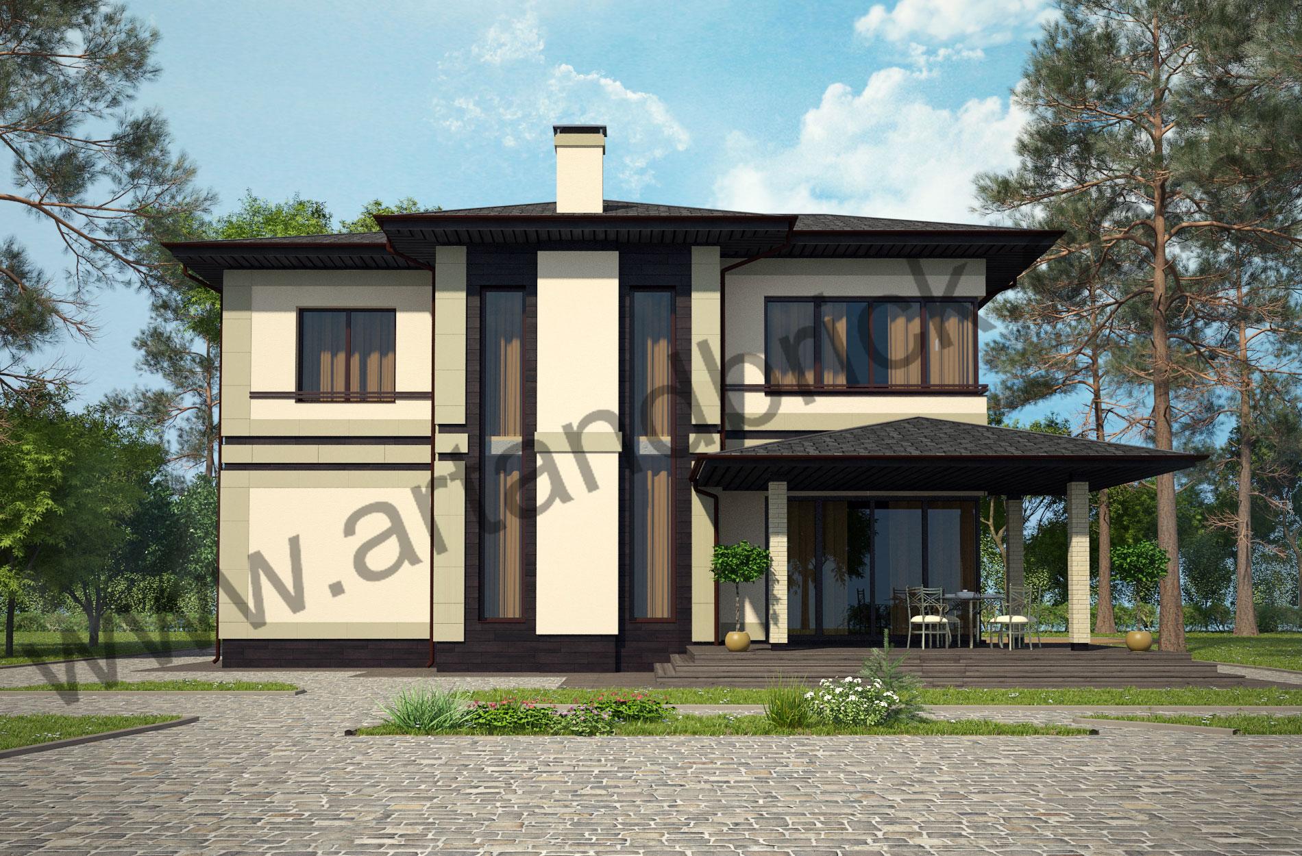 Проект дома c баней в современном стиле – задний фасад дома с террасой. Площадь современного коттеджа – 253 кв.м., площадь бани – 85 кв.м.